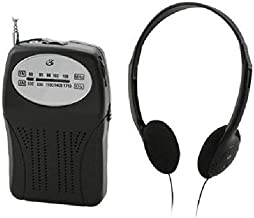 GPX R116B AM FM Portable Radio Black with Speaker and Headphones LOT of Two