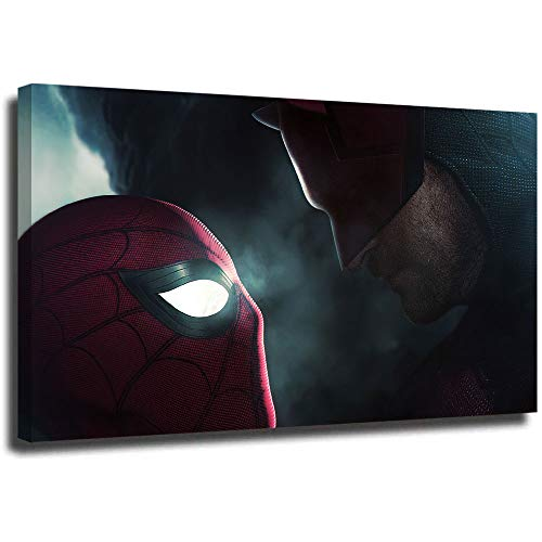 Megiri Arte de pared para sala de estar, Spiderman vs Daredevil, impresin artstica de pared para decoracin del hogar, 36 x 24 pulgadas