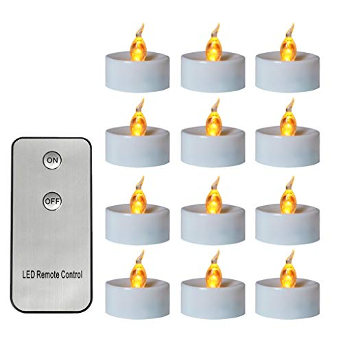 Morningmo 12pcs Flickering LED Candle Lights With Remote Control Flameless Electric Tealight White Shell with Remote Control Simulation Candle Lamp Tip with Flashing Lighting LED
