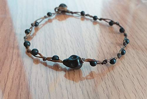 Black skull anklets Matle Max 67% OFF onyx stone is for b fashionable anklet Max 75% OFF