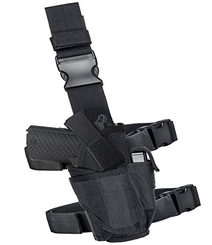 Drop Leg Holster Molle Airsoft Holster Thigh Pistol Gun Holster Tactical Adjustable Right Handed Carlebben (Black)