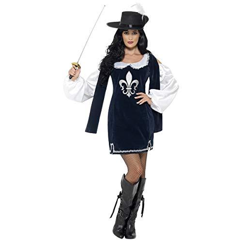 Smiffy's Damenkostüm, Mittelalterliches französisches Outfit, Musketier-Kostüm Gr. Kleid 38-40, navy
