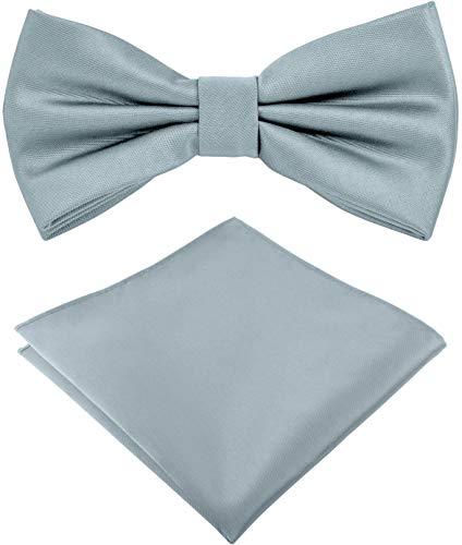 Helido Pajarita con pañuelo de bolsillo para Hombre + caja de regalo (Azul claro)