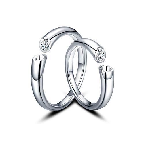 ANAZOZ Anillos 2PCS Anillos de Oro 18 Kilates Hombre Mujer Anillos Abierto Diamante Blanco 0.1ct Plata Talla Mujer 11 & Hombre 16