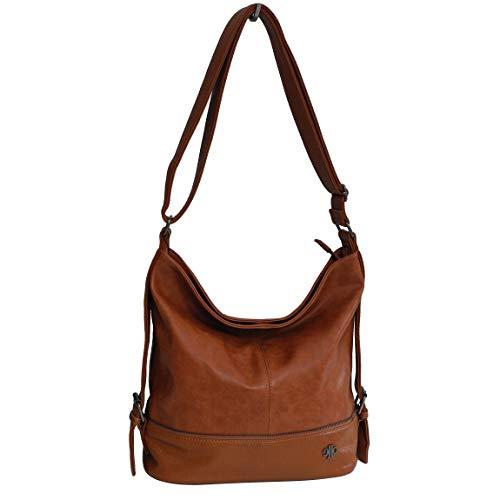 Jennifer Jones Moderne XLHandtasche Schultertasche Umhängetasche Shopperbag für Sport Freizeit Arbeit - präsentiert von ZMOKA (Cognac)