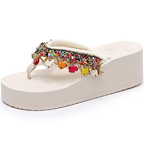 Flip-flops, pendiente de estilo étnico con chanclas de playa soladas gruesas, chanclas antideslizantes para desgaste exterior de moda, sandalias informales-blanco_37 1/3