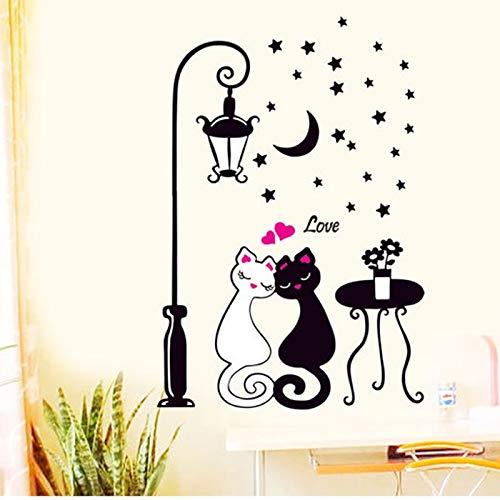 BLOUR Heiße Wohnkultur Wohnzimmer Schlafzimmer Wandtattoos Katzenliebhaber Straßenlaternen Schwarz-Weiß-Tapete Katzenaufkleber Aug10