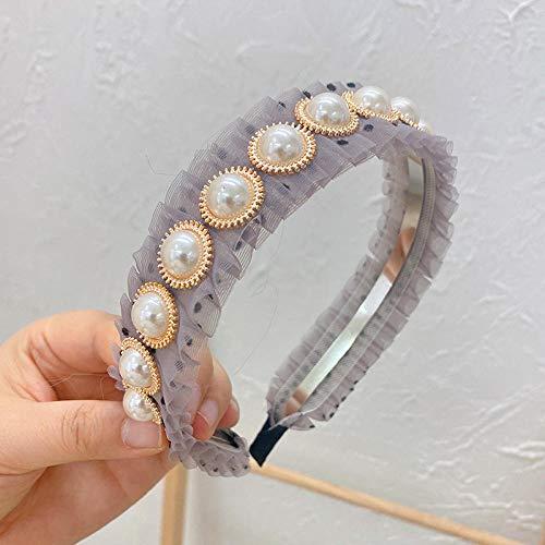 Accessoires pour cheveux Bandeau Perle Épingle À Cheveux Pressé Cheveux Rides Designer Tissu Coréen Tête Boucle-gris