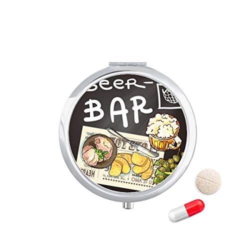 DIYthinker Steak Bar Frankrijk Toast bier Travel Pocket Pill Case Medicine Drug Opbergdoos Dispenser Spiegel Gift