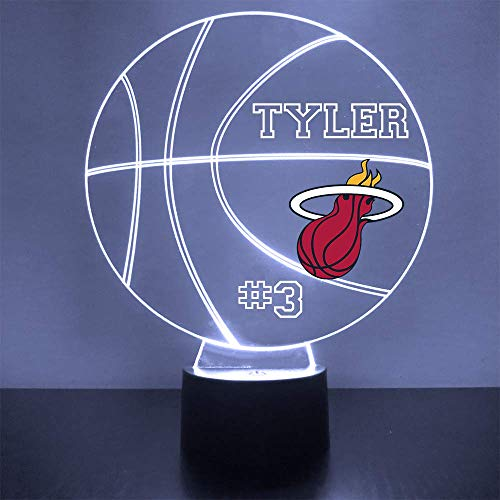 Mirror Magic Store Heat Basketball Sports Fan Lamp/Night Light - LED - Personalize for Free - Featuring Licensed Decal