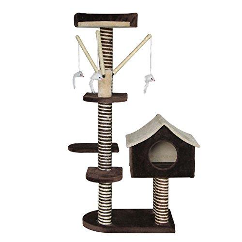 YNZYOG Kattenspeelgoed boom en toren klimframe Play Activiteitscentrum beige + donkerbruin, eenvoudig te installeren, 55 x 25 x 127 cm