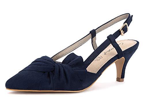 Greatonu Zapatos de Tacón Talón Abierto Suede con Hebilla Ajustable Diseño Modo...