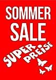 Póster con marco DIN A1, diseño de verano con texto en alemán 'Super Preise für Rabattaktionen, Sommerschlussverkauf (SSV)