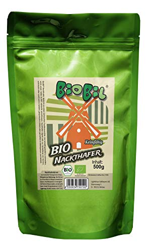 BioBil Nackthafer - ganze Körner - Bio-zertifiziert - keimfähig (500g)