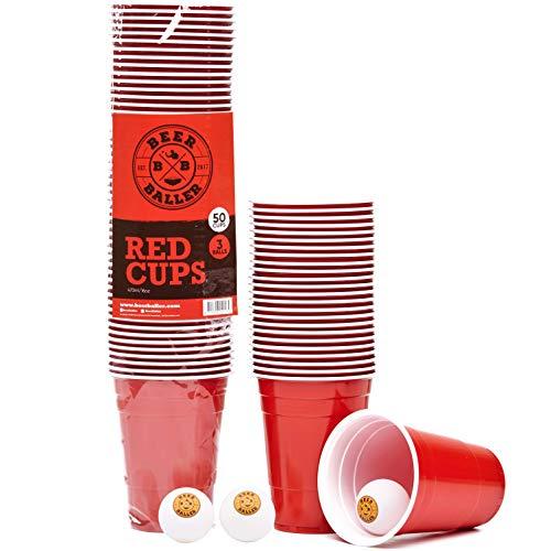 BeerBaller® original Red Cups - 50 rote Beer-Pong Becher & 3 Bierpong Bälle | 473ml 16oz – retro American Party-Becher für eure Studentenparty, das Festival und Beerpong Turniere