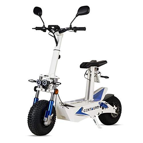 Patiente eléctrico ECOXTREM Centauro - Patinete eléctrico Blanco con sillín, Motor 3000W Brushless y matriculable. Ideal para desplazamientos urbanos.