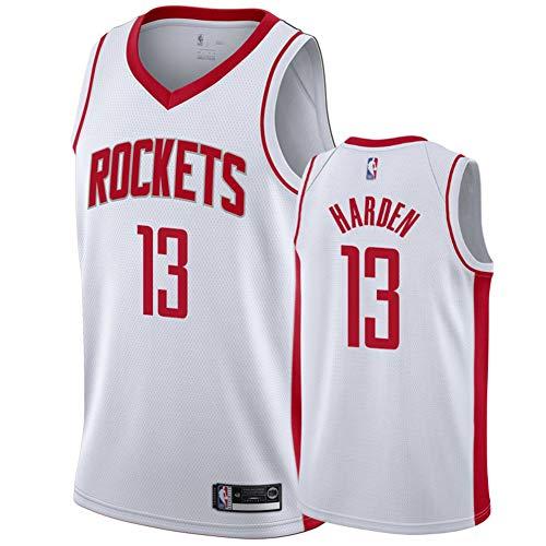 FDWD Houston Rockets James Harden Basketball Fan Trikot 13# MVP, Jugend Unisex Sportweste Stickerei Atmungsaktives lässiges ärmelloses Oberteil, geeignet für Fitness im Freien-White1-M