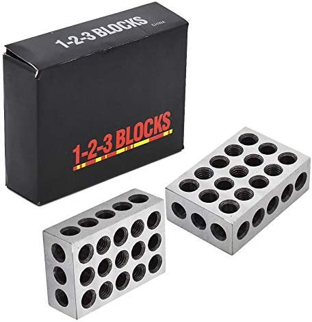 lowest 1-2-3 online Blocks Matched Pair Hardened Steel 23 sale Holes Precision Machinist Milling outlet sale