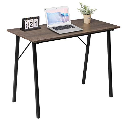 ASUUNY Computer-Desk for Small Spaces, Home Office Laptop Desk with Metal Legs, Modern Writing Table Study Desk for Kids Students Adult 100x48x74cm Walnut