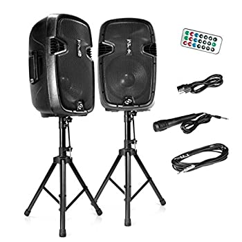 Wireless Portable PA Speaker System - 1800W High Powered Bluetooth Compatible Active + Passive Pair Outdoor Sound Speakers w/ USB SD MP3 AUX - 35mm Mount 2 Stand Microphone Remote - Pyle PPHP1249KT