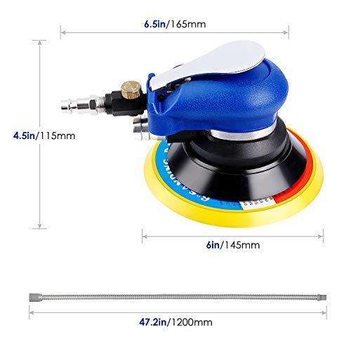 Amzdeal Lijadora Orbital Excéntrica Neumática, Dual-acción 6' Lijadora de Aire de Mano con Disco de Aire Comprimido de 10000 rpm, Manguera y Bolsa Pulidor Multifunción para Coche, Metal, Muebles