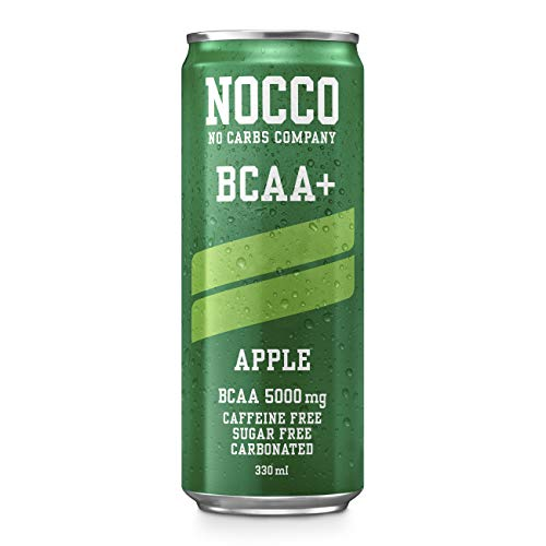 NOCCO BCAA+ Apple | 24 x 330ml | Zero Sugar | Functional Energy Drink | No Carbs Company | Vitamin Enhanced Zero Caffeine | Flavoured Functional Drinks for Health, Fitness & Everyday