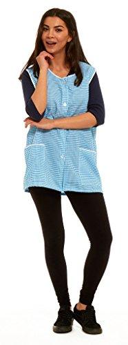Blouse de travail boutonnée pour femme, tablier sans manches, motif Vichy, taille 36 à 58 - Turquoise - Large