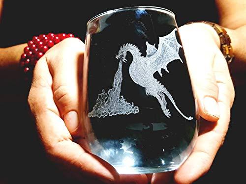 Dragon copa de vino sin tallo, dragón, copa de vino, dragón decorativo, dragón de fuego, dragón grabado a mano, dragón sin tallo, dragón grabado