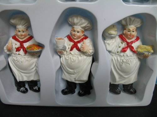 Italian Fat Chef Waiter 6 Pcs Magnets Bistro Decor Kitchen Refrigerator Home New.