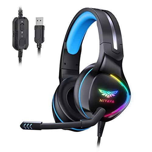 Nivava K12 - Auriculares USB para PC, PS5, sonido envolvente 7.1 PS4 con micrófono...