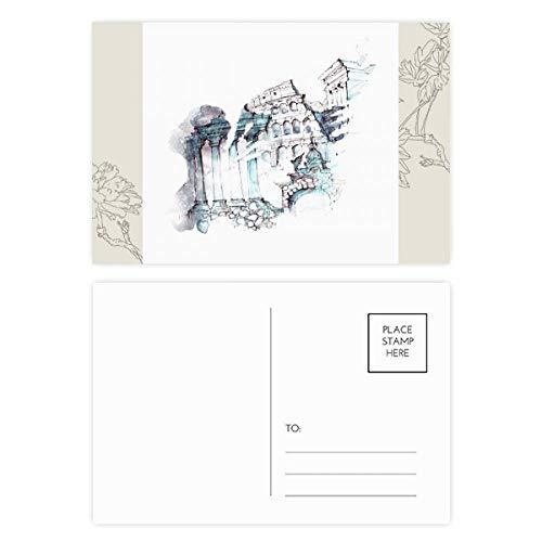 DIYthinker Zerstört Rom Architektur Aquarell-Blumen-Postkarte Set dankt Karte Mailing Side 20pcs 5.7 Zoll x 3.8 Zoll Mehrfarbig