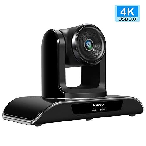 Tenveo 4K Ultra HD Konferenzkamera, USB PTZ Weitwinkel Webcam mit Fernbedienung, für YouTube/Twitch/OBS Live Streaming, Skype/Zoom Videokonferenzen (TEVO-VHD4K)