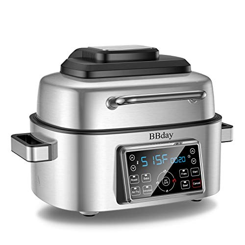 BBday 6.5 QT Air Fryer,10-in-1 Smokeless Indoor Electric Grillwith Air Fryer,Roast,Bakeand Dehydrate,1660-Watt with LED Digital Display,Stainless Steel
