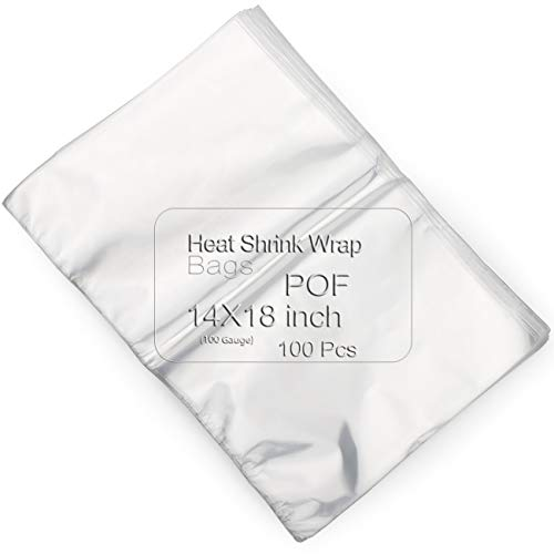 COQOFA POF Heat Shrink Wrap Bags 14x18 inch 100pcs Clear Non Toxic Soft DIY and Industrial Packaging Plastic Sealer Film with Tiny Air Vent Holes Thicker 120 Gauge