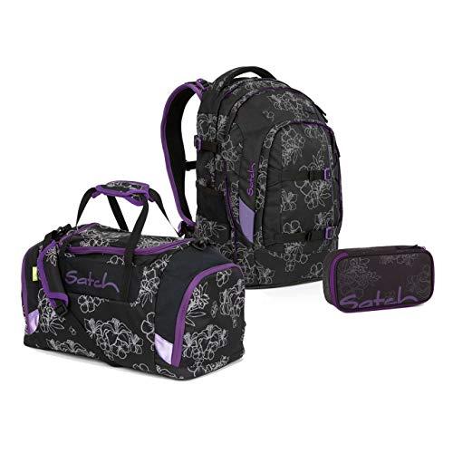 Satch Pack Schulrucksack Set 3tlg. (SchlamperBox und Sporttasche) (Pack Ninja Hibiscus)