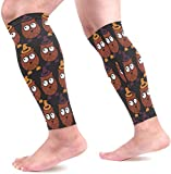 IMERIOi Halloween Pattern Calf Compression Sleeves Shin Splint Support Leg Protectors Calf Pain Relief for Running, Cycling,...