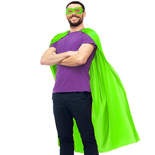 D.Q.Z Adults Superhero-Cape and Mask Set for Men Women,Super Hero Dress-Up Costume for Pretend Play Party Favors (Lime Green)