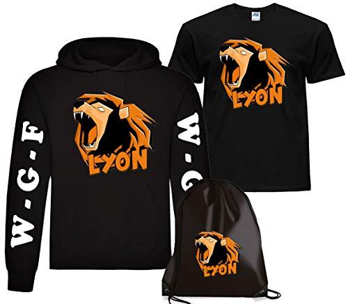 CLOTHING Felpa con Cappuccio Lyon + T-Shirt Maglietta e Sacca Lyon Team WGF WhenGamerFail Kit (7-8 Anni, Nero Logo Lyon)