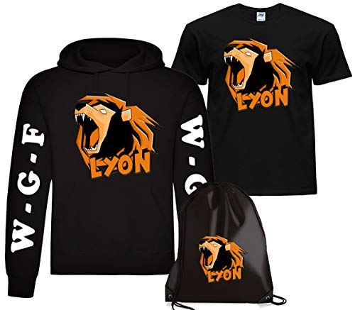 CLOTHING Felpa con Cappuccio Lyon + T-Shirt Maglietta e Sacca Lyon Team WGF WhenGamerFail Kit (12-14 Anni, Nero Logo Lyon)