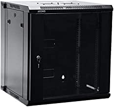 AEONS Depot 12U Professional Wall Mount Server Cabinet Enclosure Double Section Hinged Swing Out 19-Inch Server Network Rack with Locking Glass Door Black (Fully Assembled)