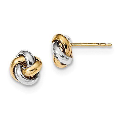 14k Two Tone Yellow Gold Love Knot Post Stud Earrings Ball Button Fine Jewelry For Women Gifts For Her