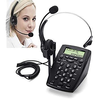 Call Center Telephone with Headset, MCHEETA Phone with Noise Cancellation Headset and Dialpad