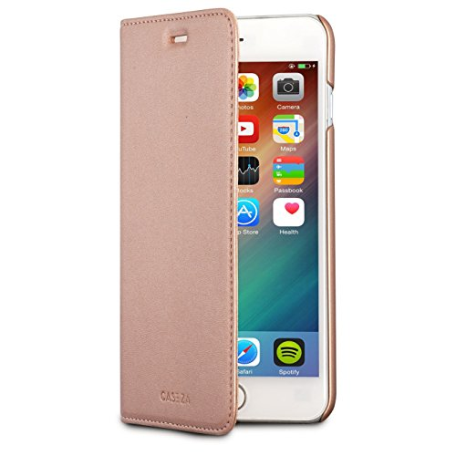 CASEZA iPhone 8 Plus/7 Plus Kunstleder Flip Case Oslo Rose Gold - Schlanke PU Leder Hülle Ledertasche Lederhülle für das Original Apple iPhone 8 Plus /7 Plus (5.5