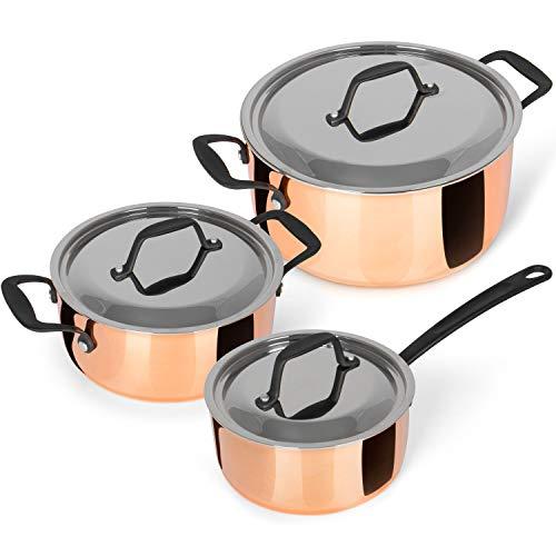 Kochchef Juego de 3 ollas de cocina bañadas en cobre, compuesto de tres capas de material de acero inoxidable, aluminio y cobre, alta eficiencia energética, escala interior como ayuda para dosificar
