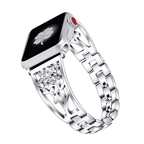 Fhony Correa de Repuesto Compatible con Apple Watch 38 mm 40 mm 42 mm 44 mm Correa Diamond Pulsera Acero Inoxidable Joyería Brazalete para Apple Watch SE/6/5/4/3/2/1,Plata,42/44mm