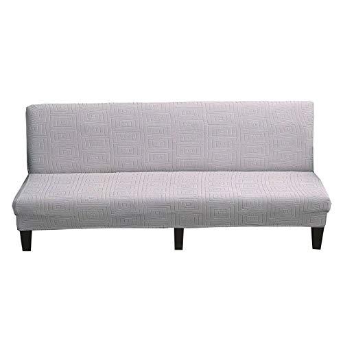 ZHFEL Funda Elástica de Sofá Sin Brazos,Jacquard Protector de futón 3 Plazas Protector para Muebles Antideslizante Lavable Elastano Funda Sofa Cama para Futón Couch Bench-L(61'-72')-Gris Claro