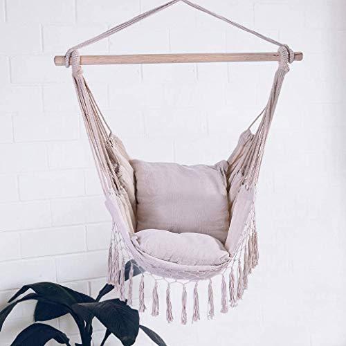 Hamaca Silla Colgante Silla de Hamaca Colgando Swing con 2 Cojines de Asiento, Incluido el Porche de algodón de algodón, sillas de Swing Interiores para Dormitorio/balcón, 39.4 x 51.2 Pulgadas (blan