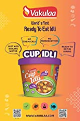 Delicious instant Cup Idli and Sambar Just add boiling water No Chemicals No Preservatives All Natural no Preservatives