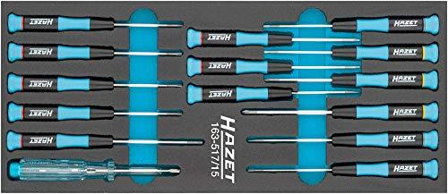 HAZET Elektronik-Schraubendreher-Satz (Schlitz Profil, Kreuzschlitz Profil PH, Innen TORX® Profil) 163-517/15