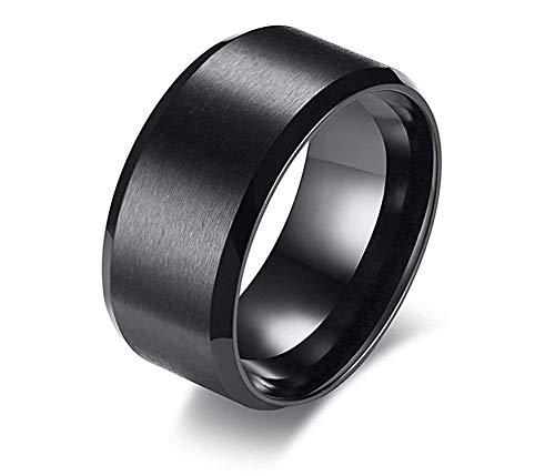 JIANLISP Joyería de Acero Inoxidable de 10 mm de Anchura Amplia Negro Ion Plateado Acabado Cepillado y Biselado de Filo Liso Pulgar Simple Anillo de los Hombres